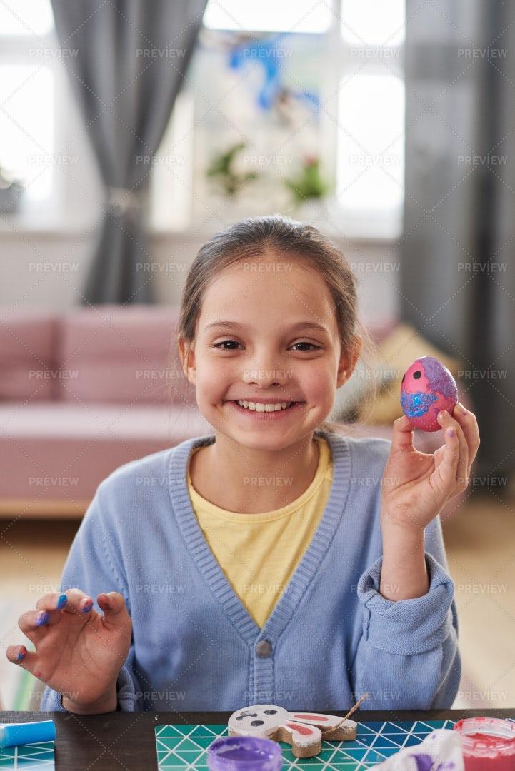 Little Girl Preparing For Easter: Stock Photos