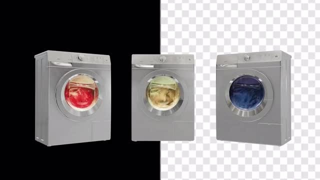 Washing Machines With Alpha Channel: Stock Motion Graphics