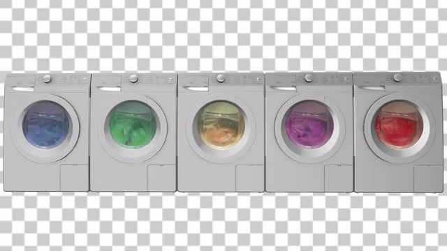 Row Of Washing Machines: Stock Motion Graphics