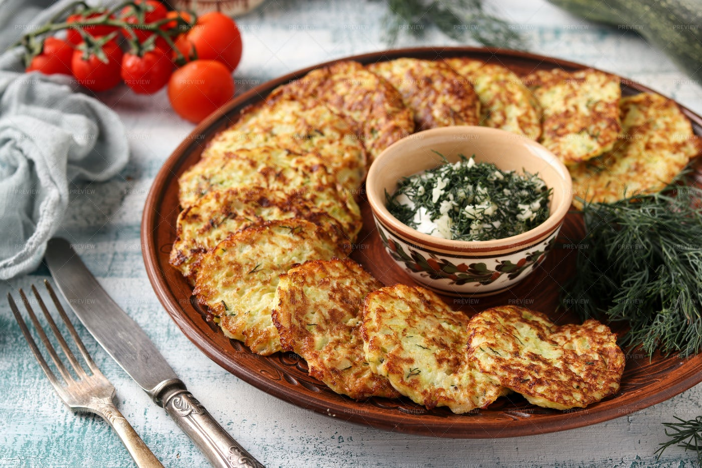 Zucchini Fritters: Stock Photos