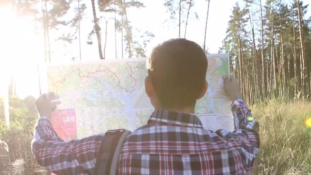 Tourist Walking In Forest : Stock Video