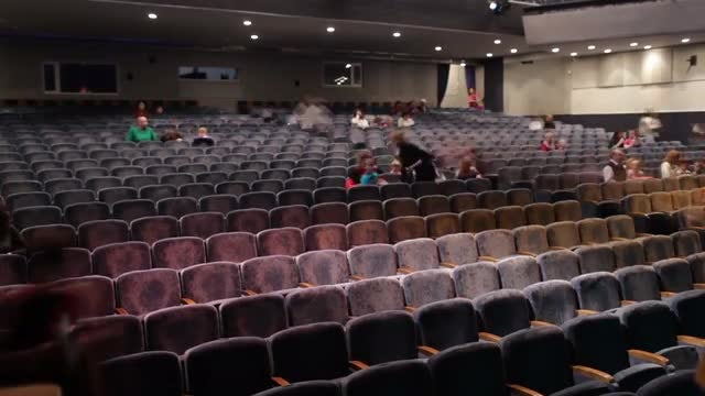 Audience Fills The Theater. Time Lapse: Stock Video