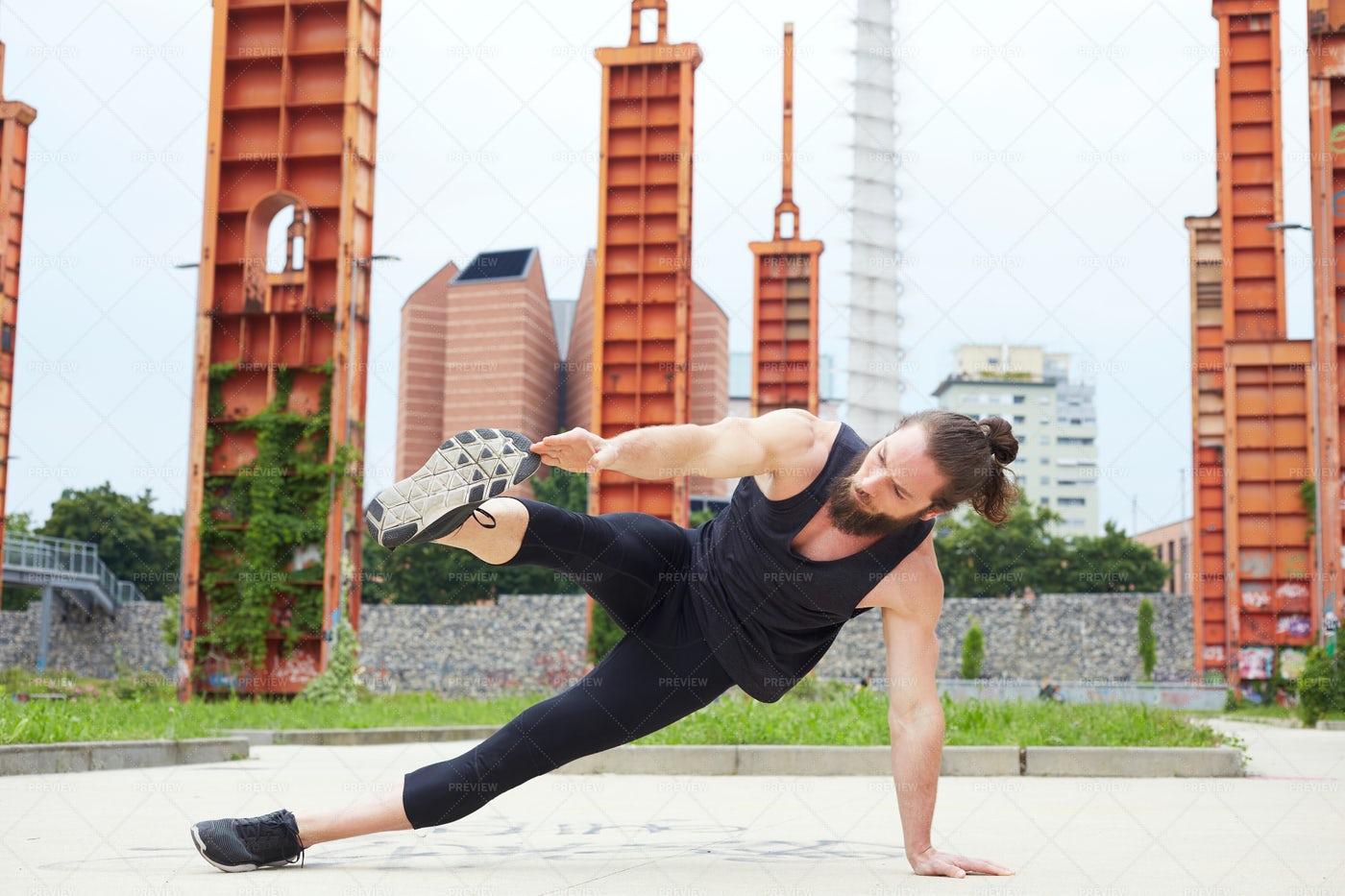 Young Man Exercising Outdoors: Stock Photos