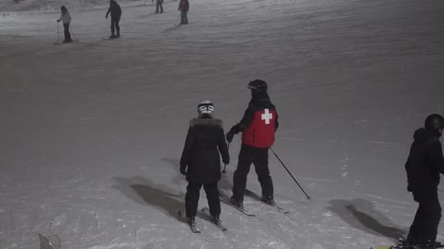 Night Skiing On Snow Hill: Stock Video