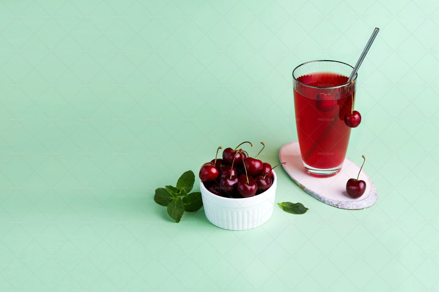 Cherry Compote And Berries: Stock Photos