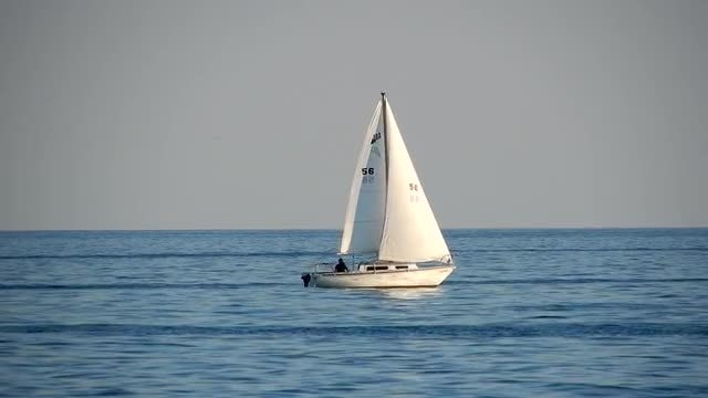 Sailboat In Blue Waters: Stock Video