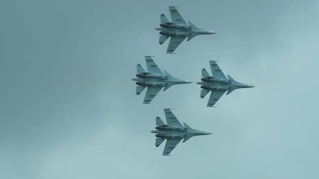 Four Fighter Jets In Formation: Stock Video