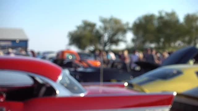 People Walking Around Classic Car Show 4k: Stock Video