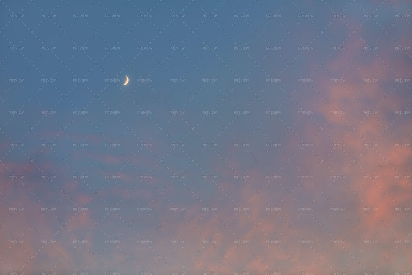Sky With Moon And Clouds: Stock Photos