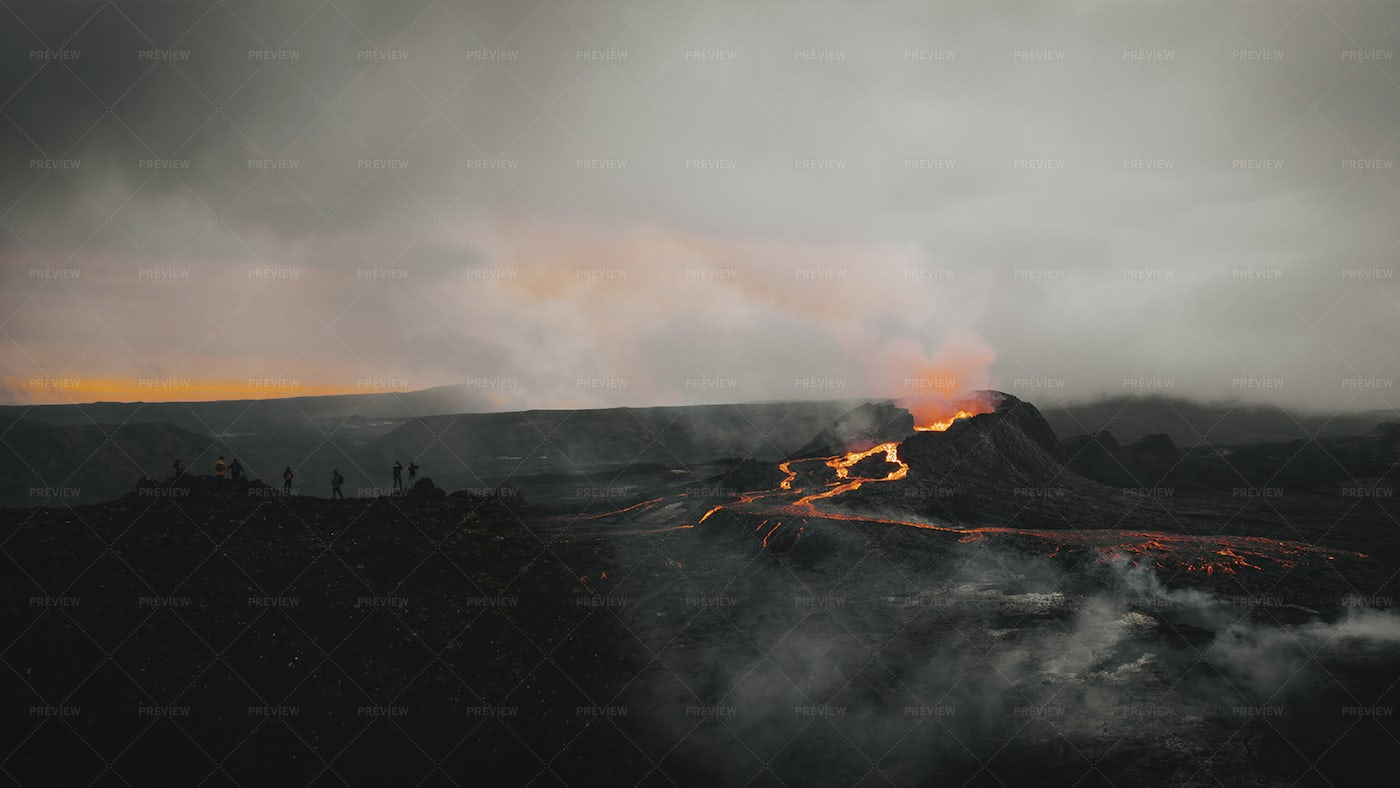 People Watching A Volcano: Stock Photos