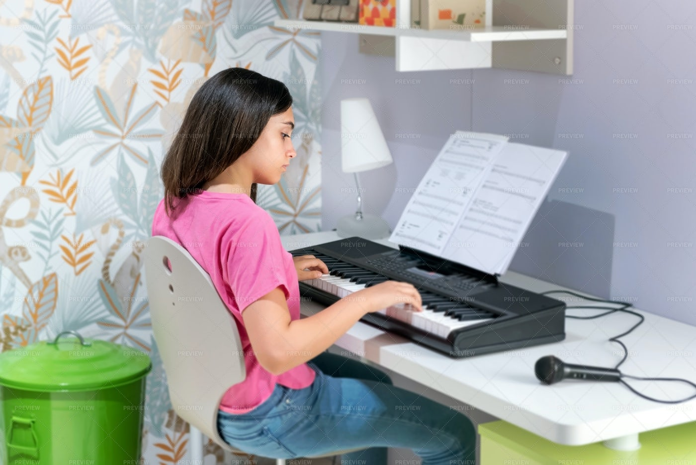 Playing On An Electronic Keyboard: Stock Photos