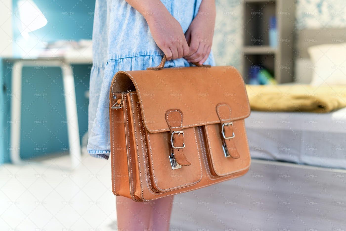 Holding A School Bag: Stock Photos
