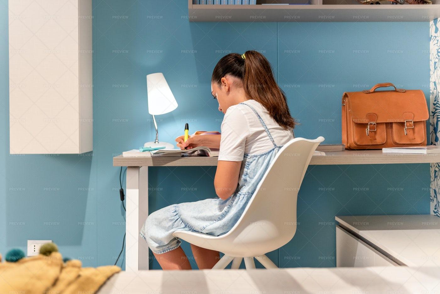 Teenage Doing Her Homework: Stock Photos