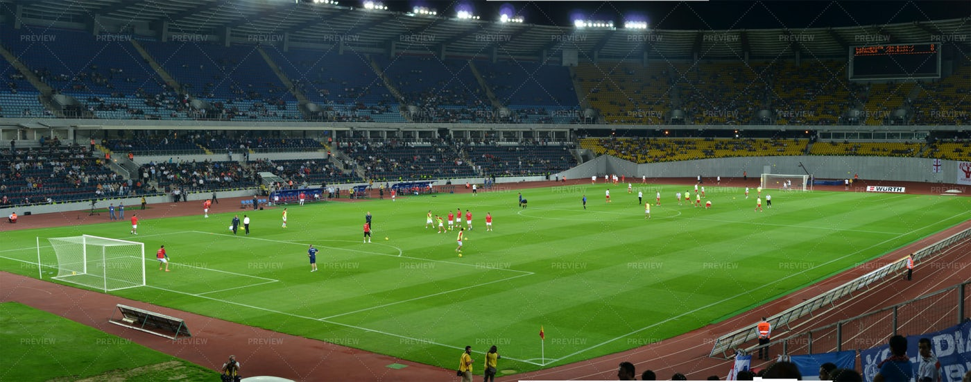 Soccer Stadium With Players: Stock Photos