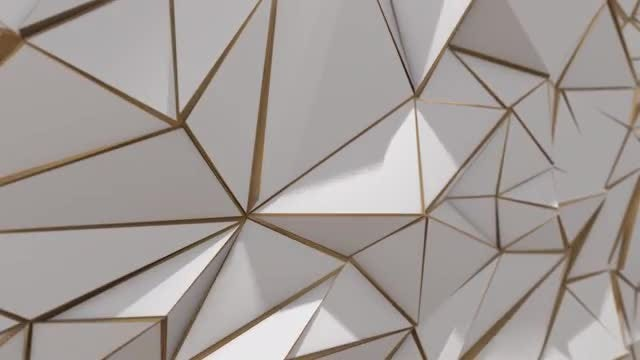 White-Gold Triangle Sides Background: Stock Motion Graphics