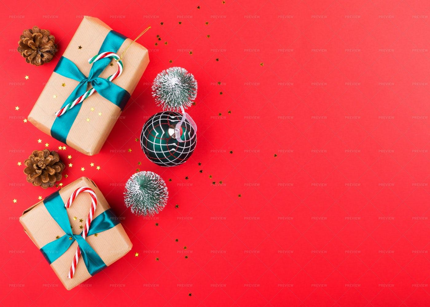 Christmas Presents Background: Stock Photos