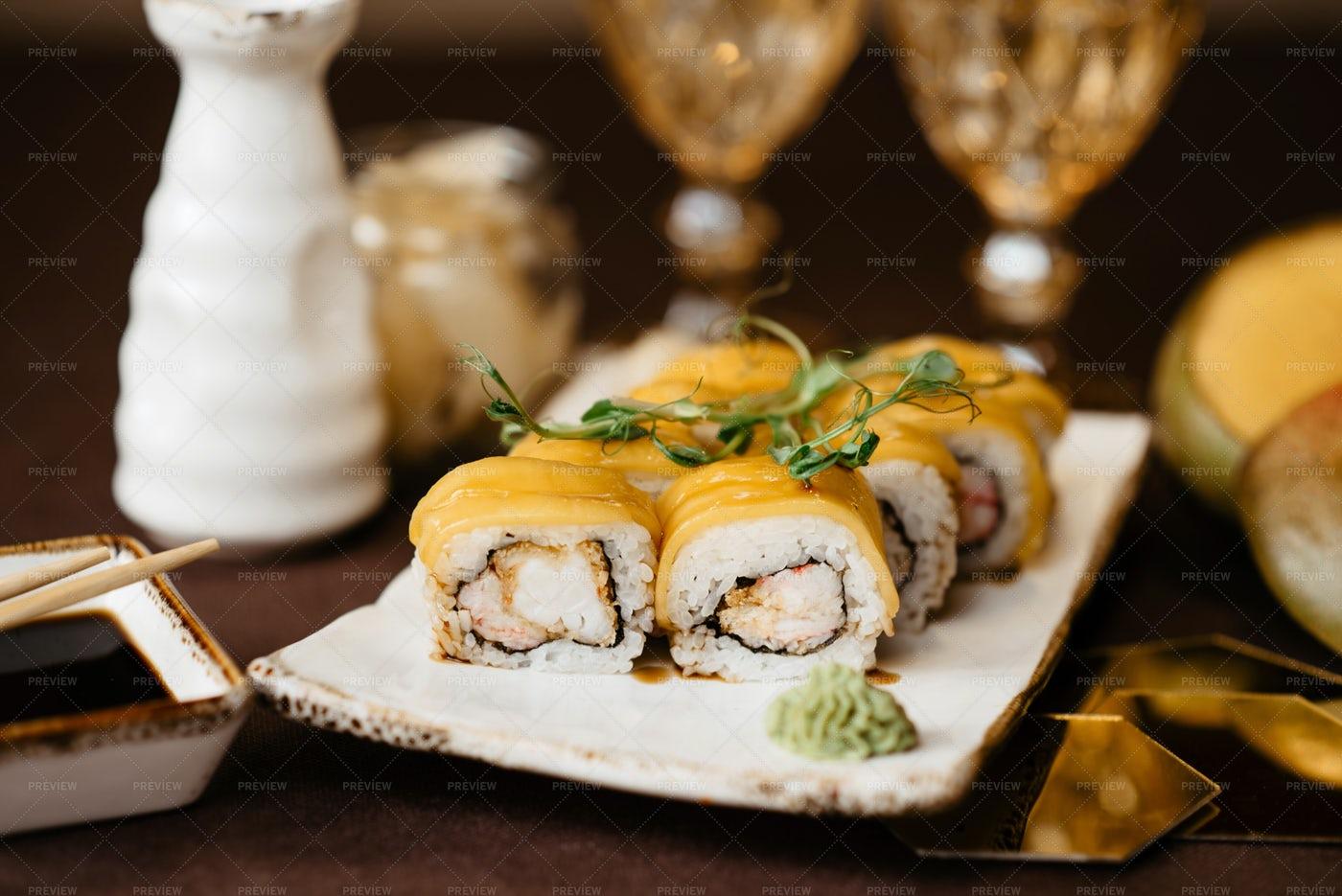 Beautifully Served Mango Sushi: Stock Photos