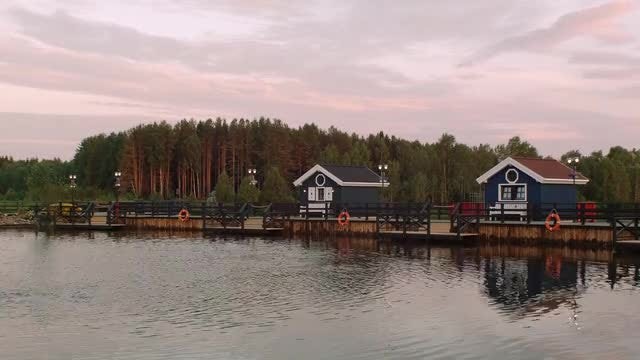 House On Lake Timelapse: Stock Video
