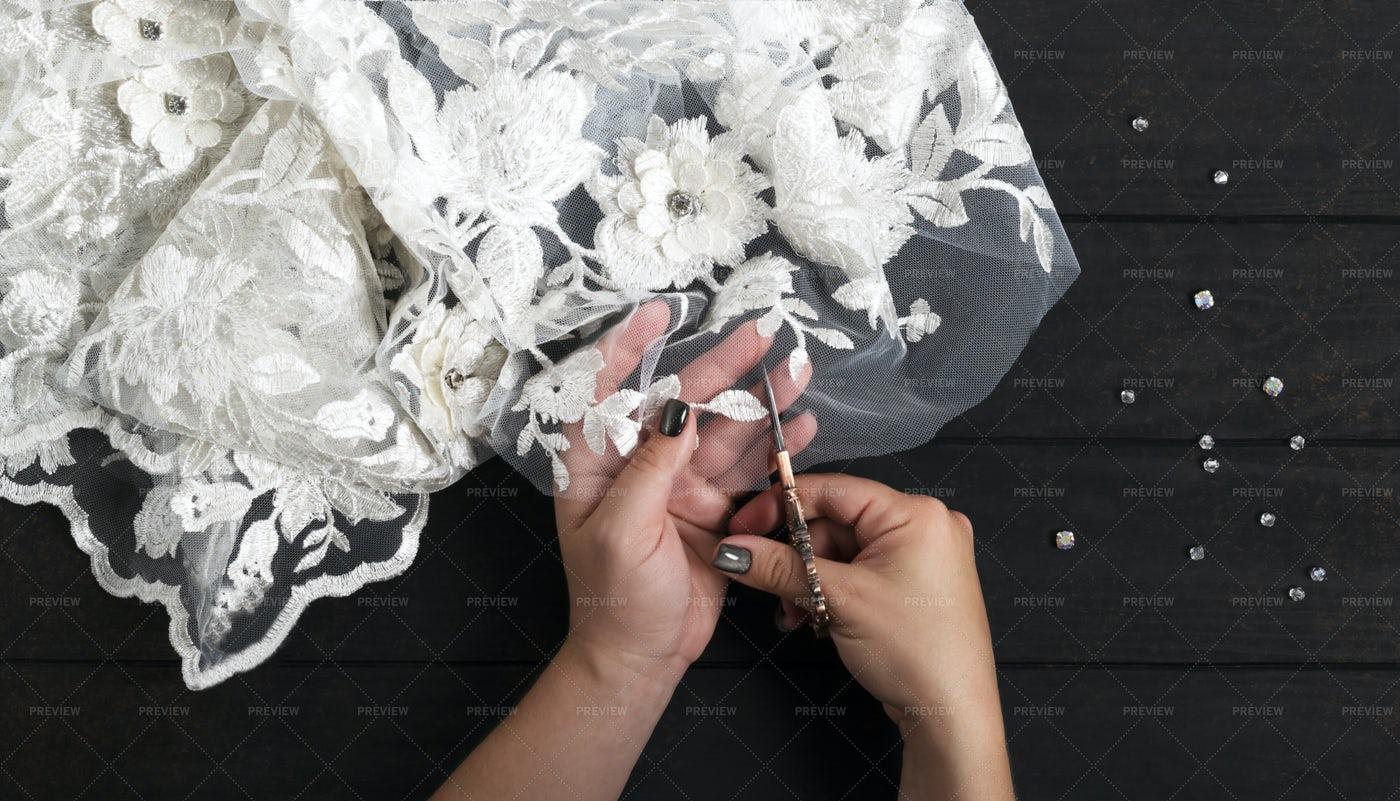 Sewing Wedding A Dress: Stock Photos