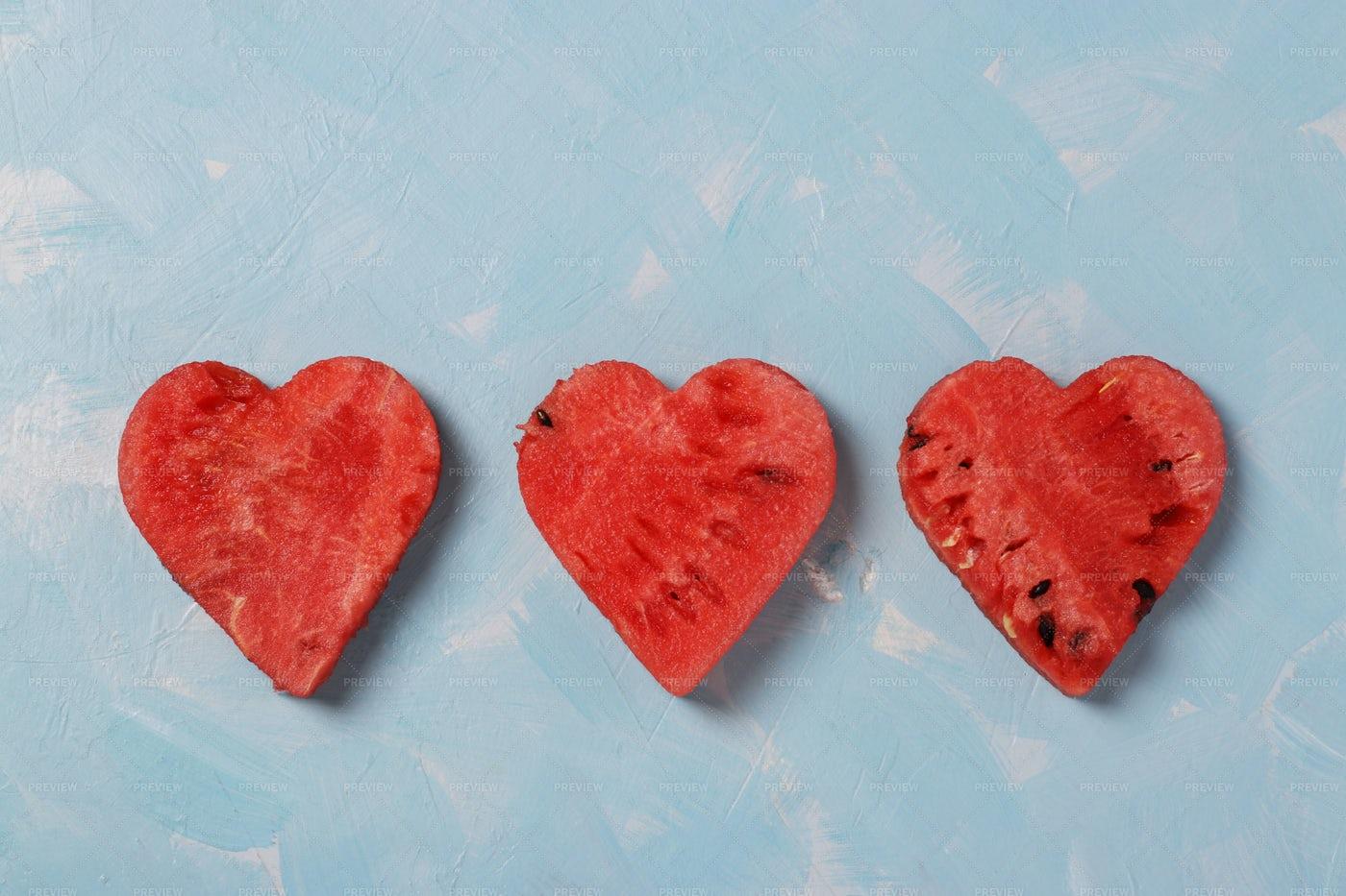 Watermelon Slices As Hearts: Stock Photos