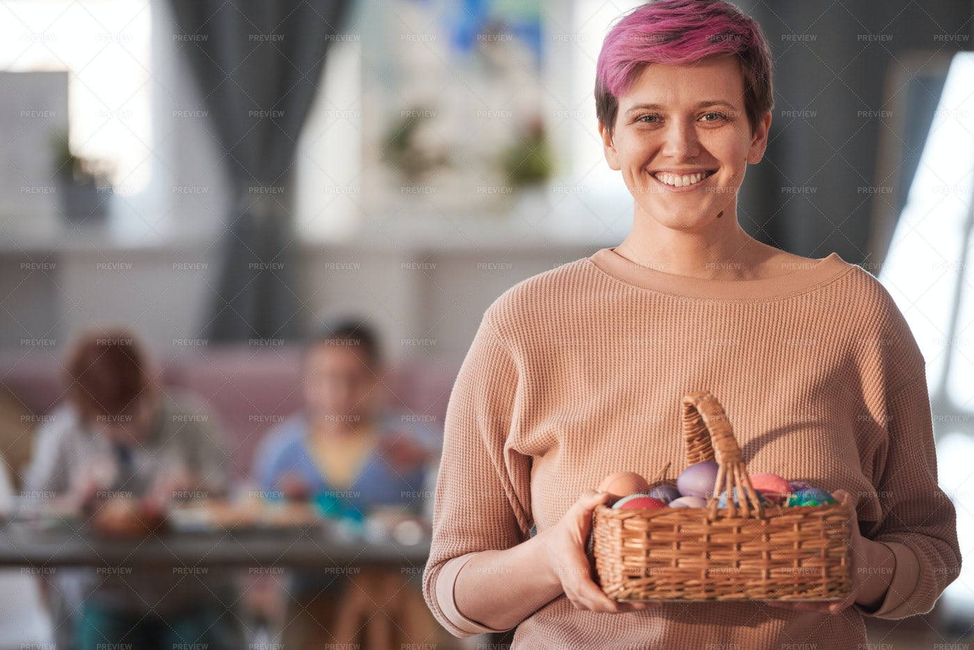 Woman With Easter Eggs: Stock Photos