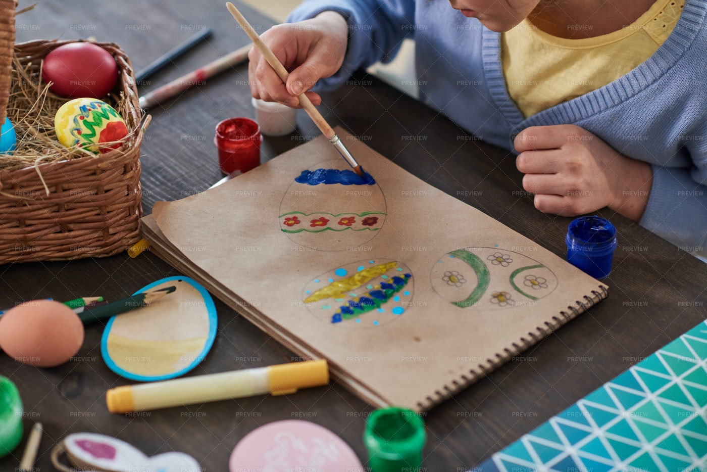 Painting Eggs On Paper: Stock Photos