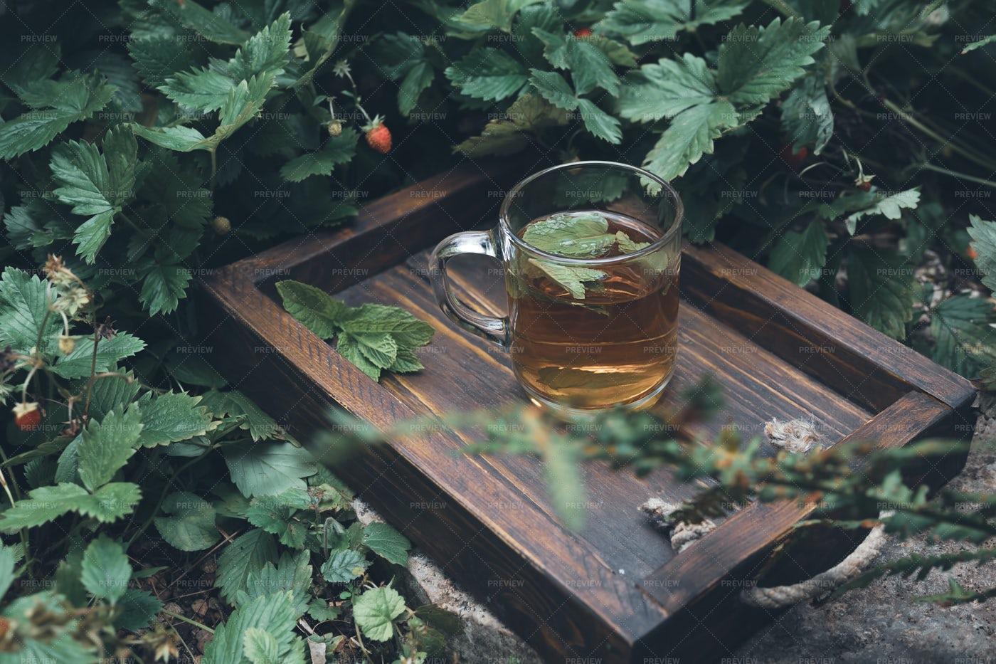 Mint Tea On Wooden Tray: Stock Photos
