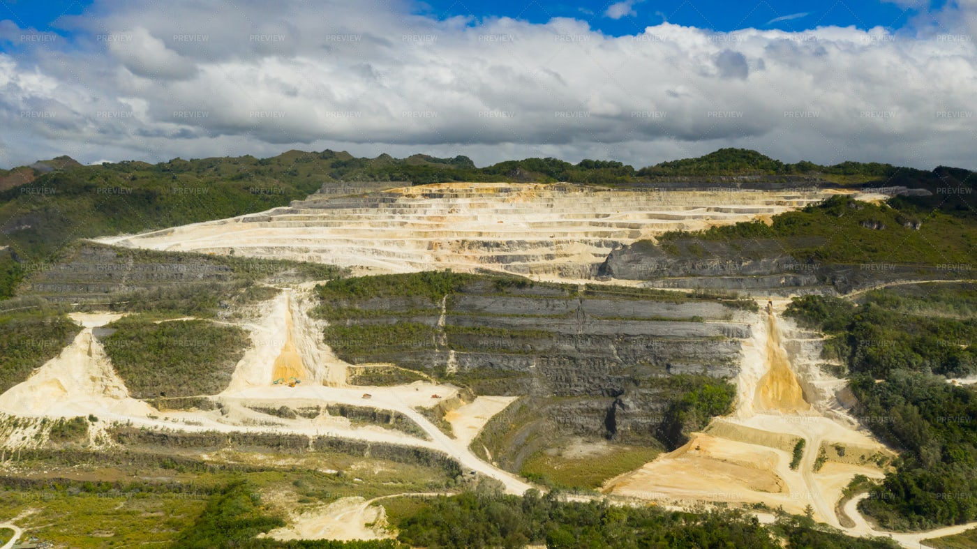 Limestone Quarry In The Mountains.: Stock Photos