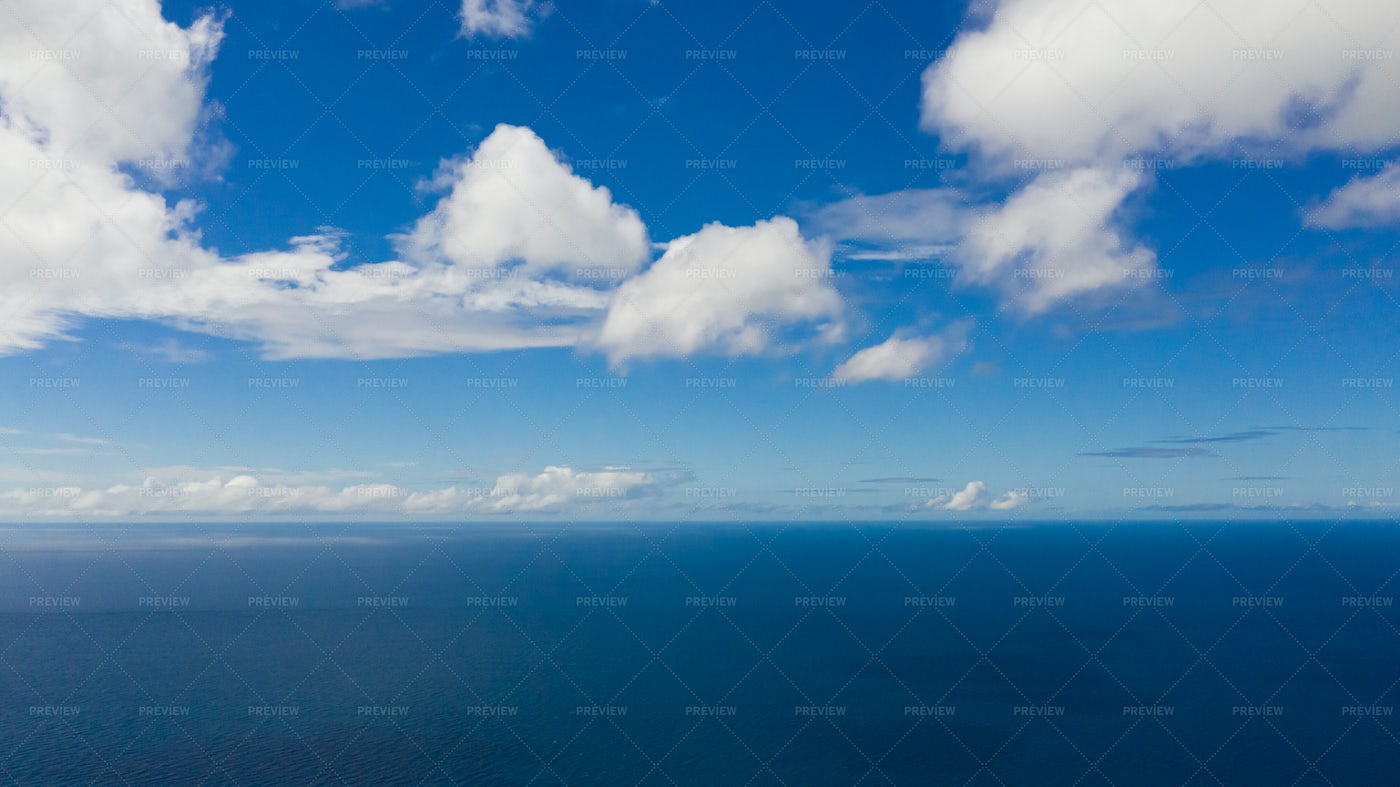 Blue Sea And Sky With Clouds, View From: Stock Photos