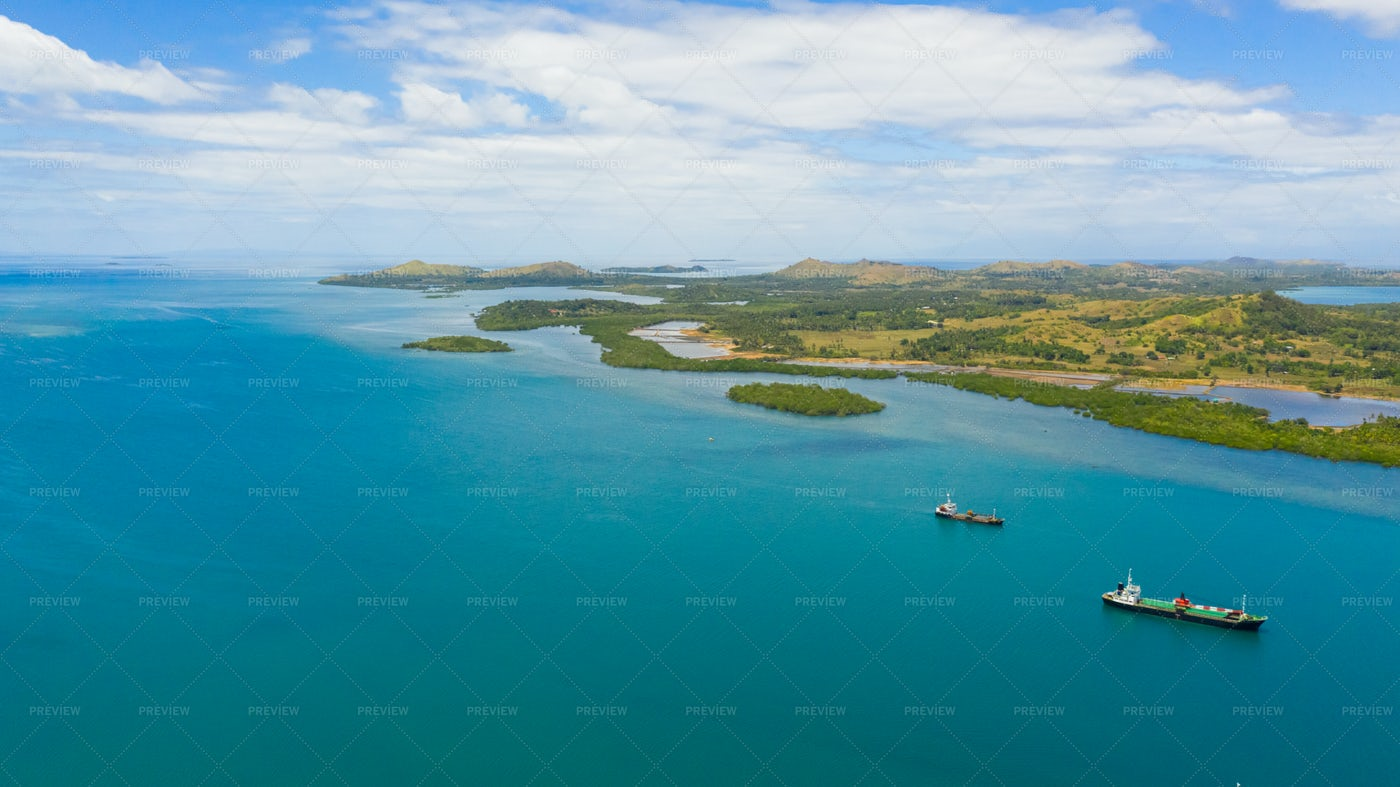 Sea Harbour With Cargo Ships. Bohol,Phil: Stock Photos