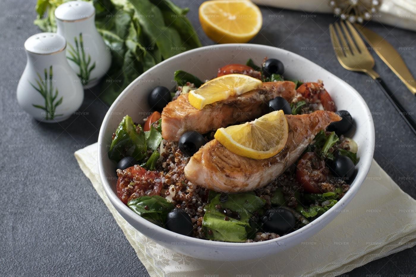 Salad With Quinoa And Salmon: Stock Photos