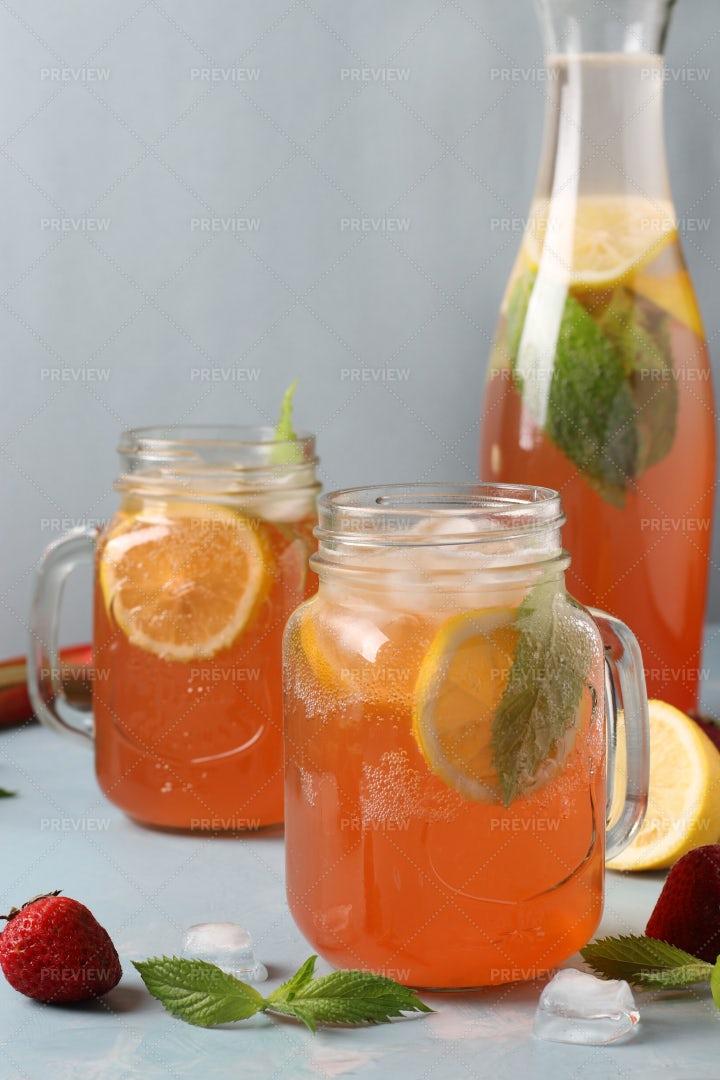 Lemonade Rhubarb And Strawberry: Stock Photos