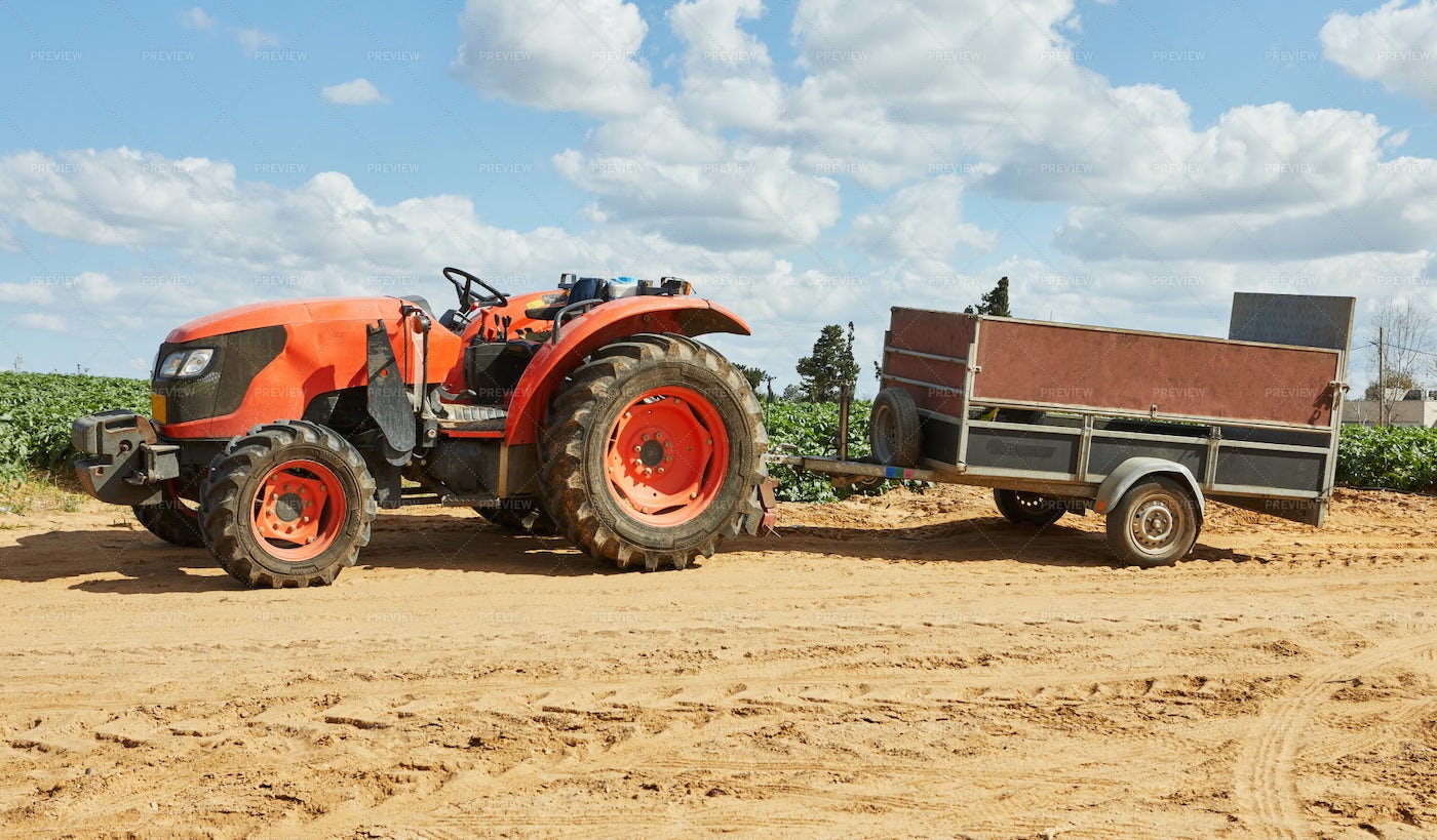Tractor With Trailer For Harvesting: Stock Photos