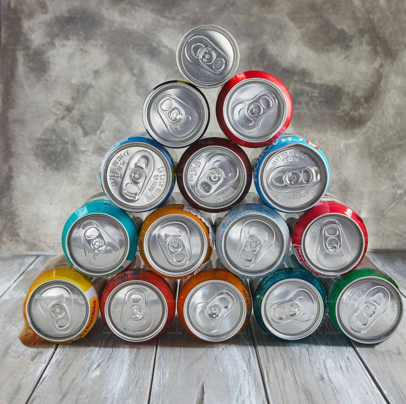 Cans Stacked As Pyramid: Stock Photos