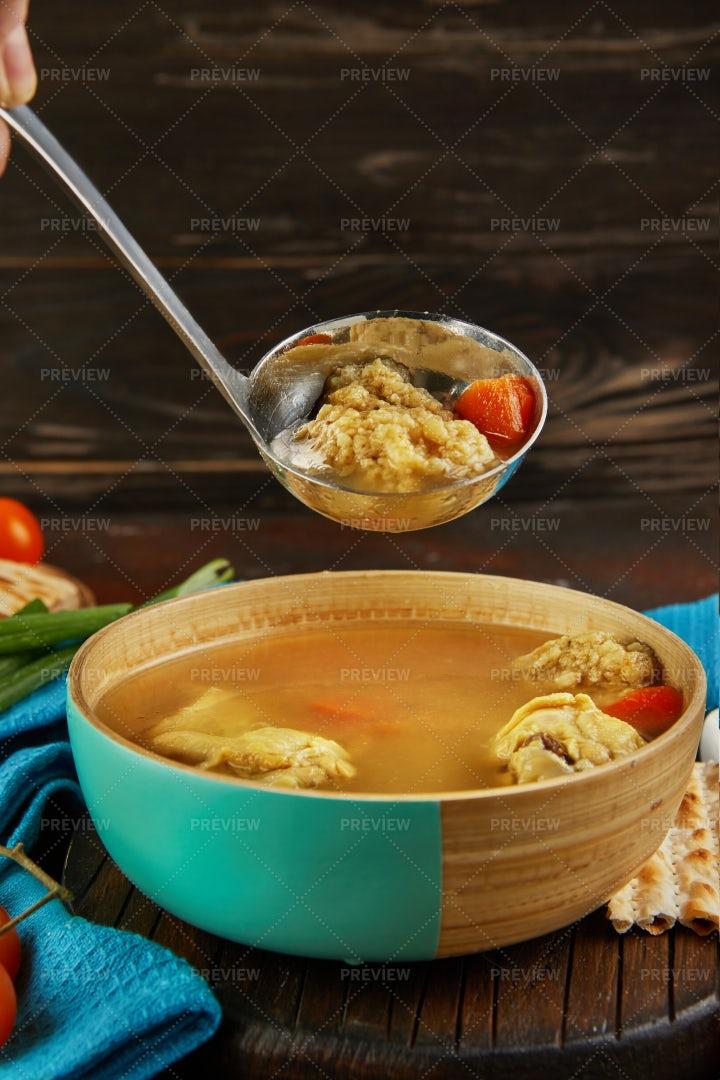 Soup With Matzo Dumplings: Stock Photos