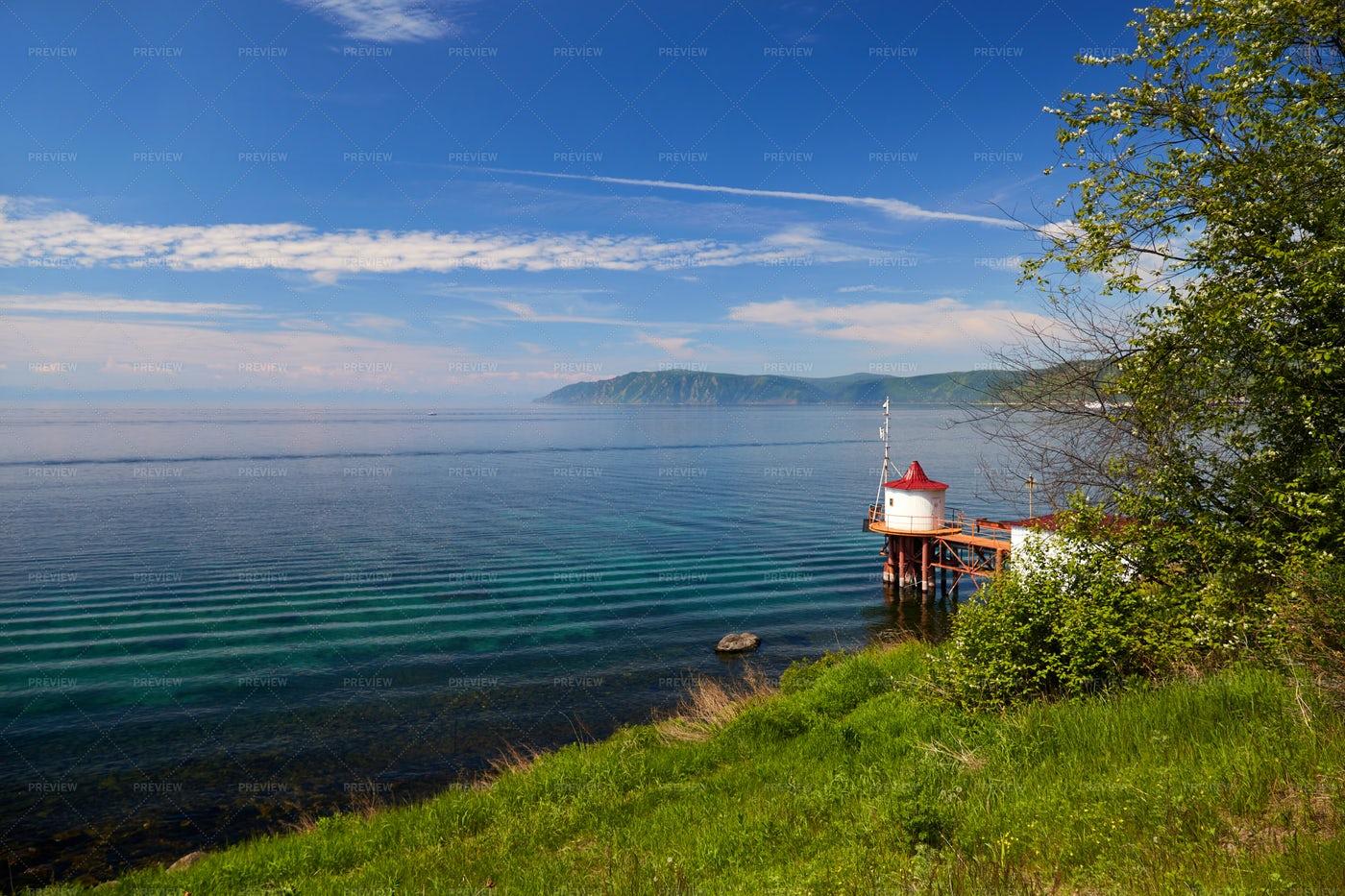 Lake Baikal And Pier: Stock Photos