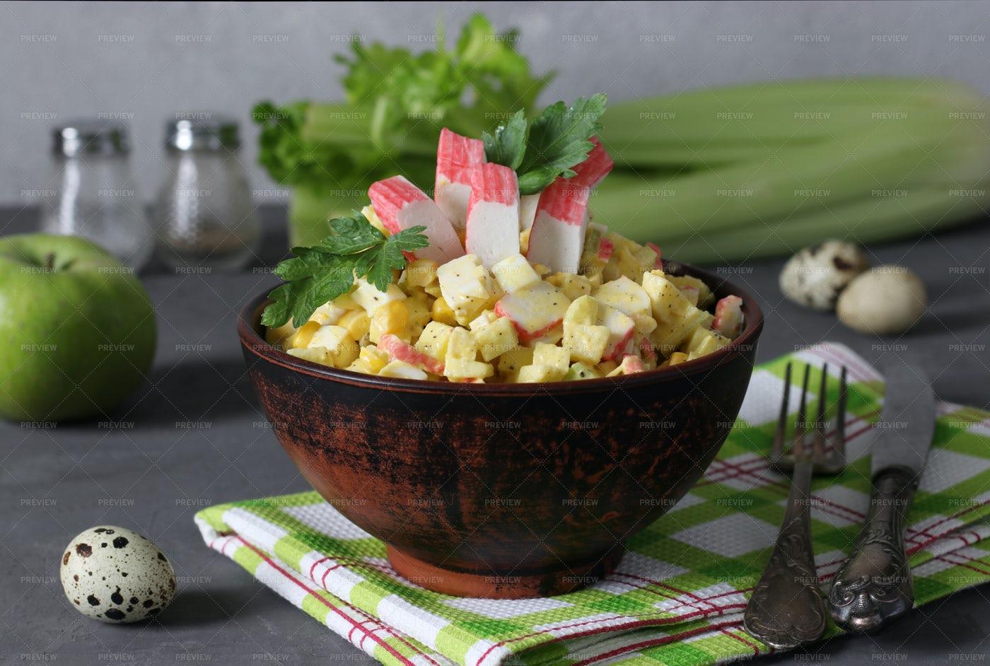 Salad With Crab Sticks And Celery: Stock Photos