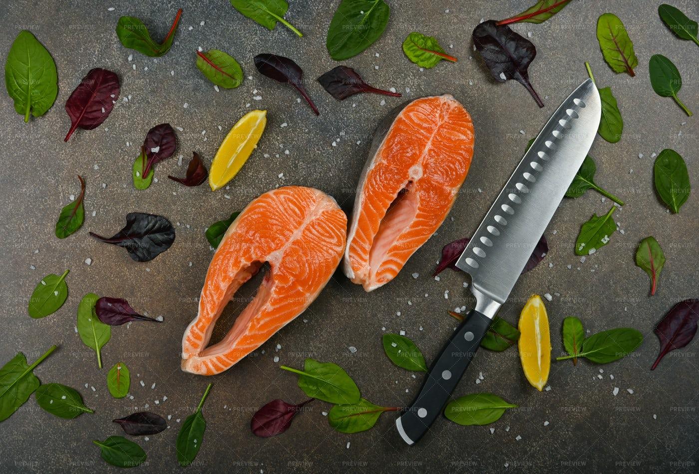 Raw Salmon Fish Steas: Stock Photos