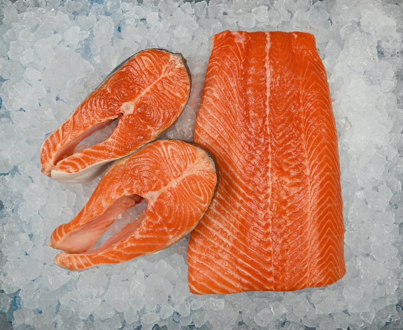 Raw Salmon Fillet And Steaks: Stock Photos