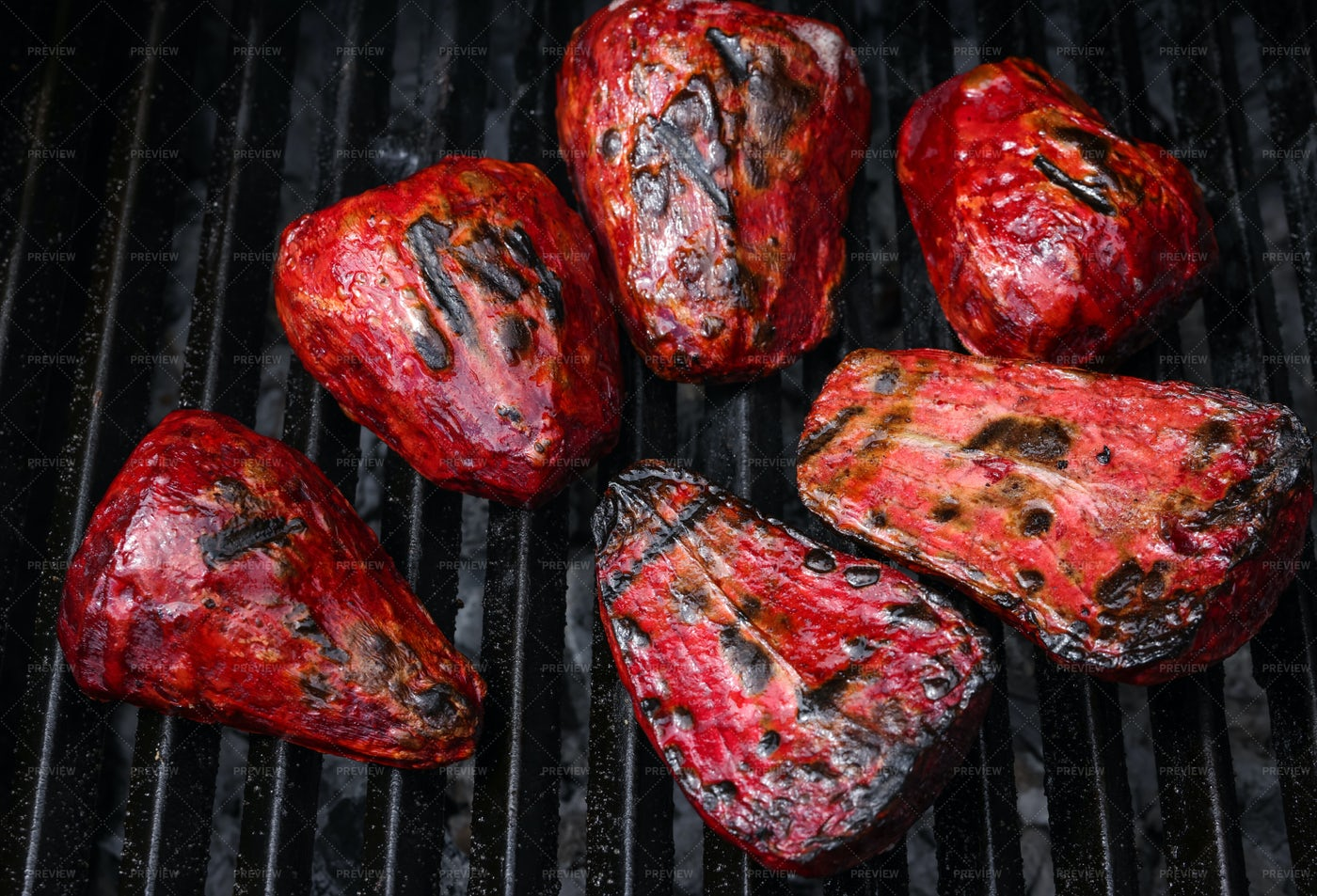 Red Beetroot In Charcoal Grill: Stock Photos