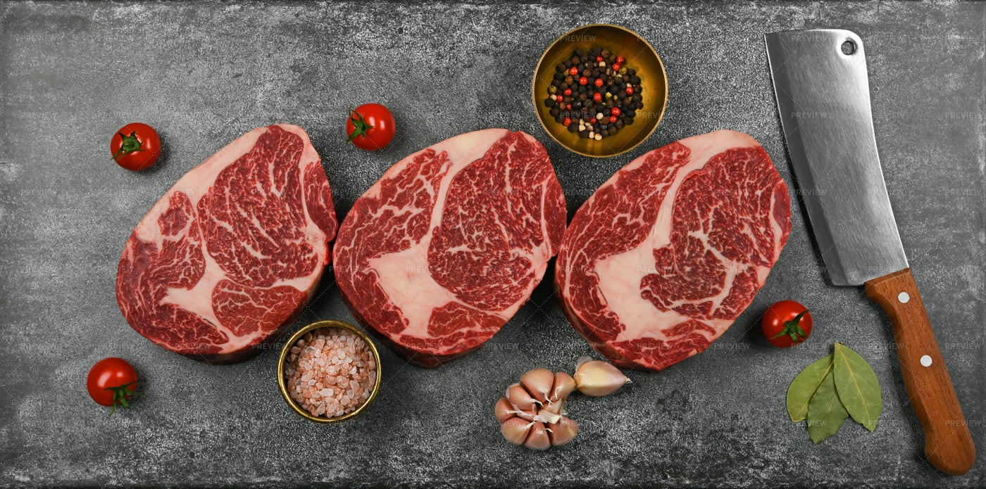 Cooking Beef Ribeye Steaks: Stock Photos