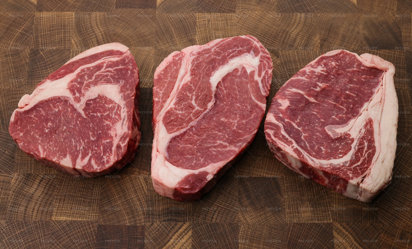 Raw Ribeye Beef Steaks: Stock Photos