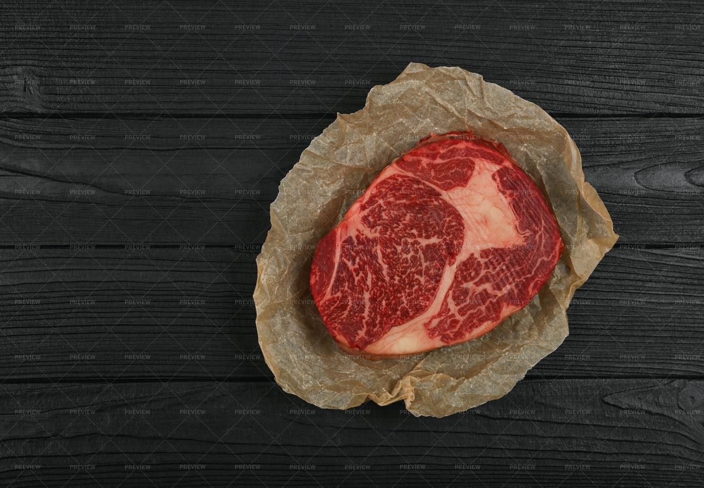Beef Ribeye Steak Wrapped: Stock Photos