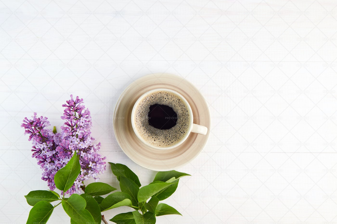 Lilac Branches And Cup Of Coffee: Stock Photos