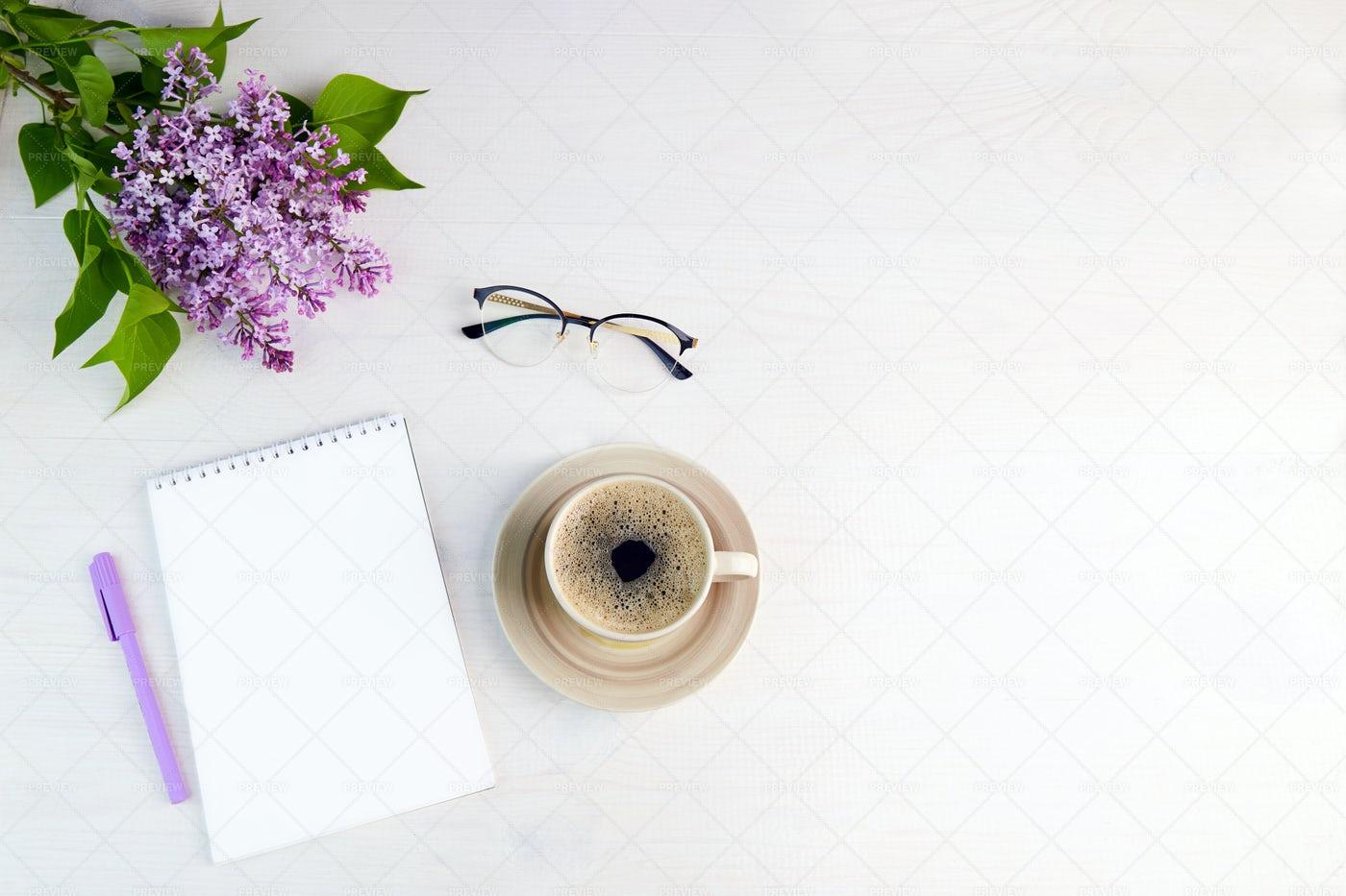 Lilac Branch, Coffee, Notebook: Stock Photos