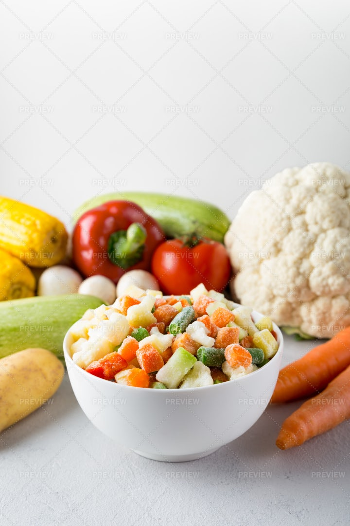 Bowl With Frozen Vegetables: Stock Photos