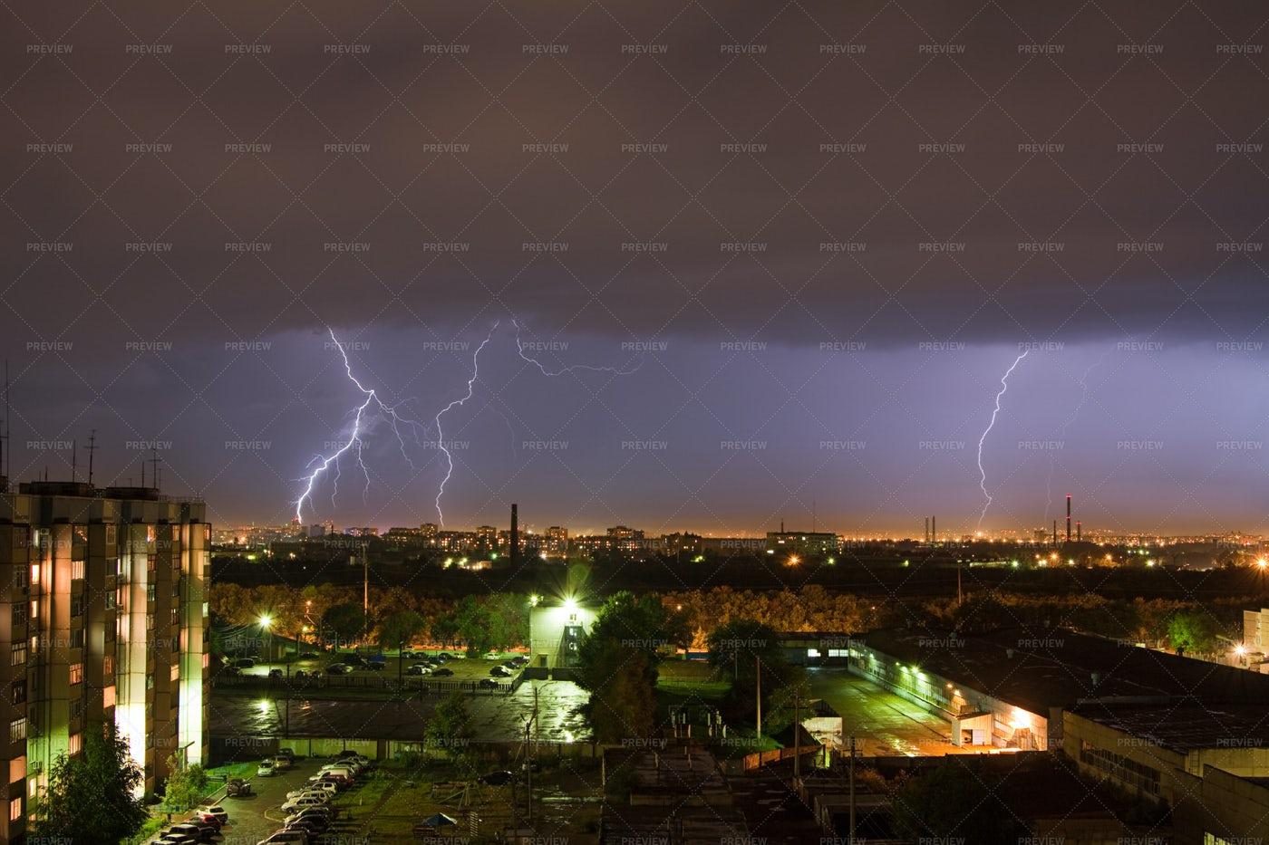 Powerful Lightning Strike: Stock Photos