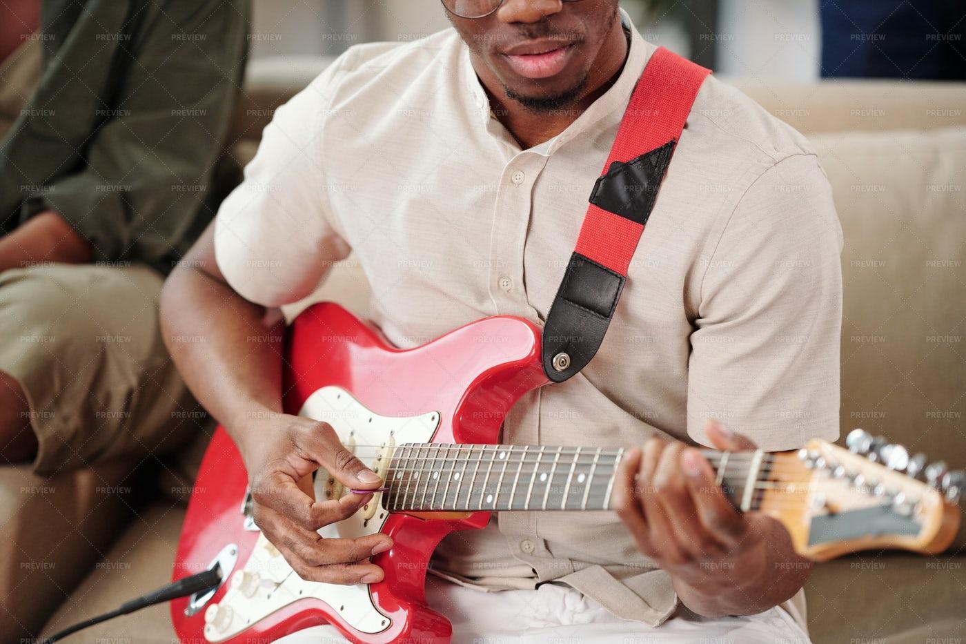 Man Playing Electro Guitar: Stock Photos
