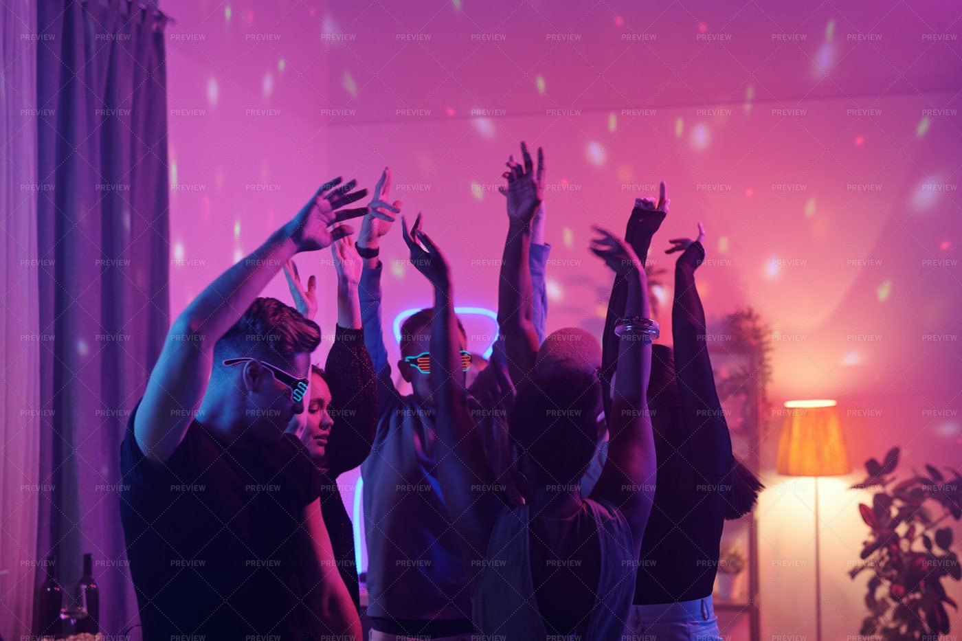 Young People Partying In Neon: Stock Photos
