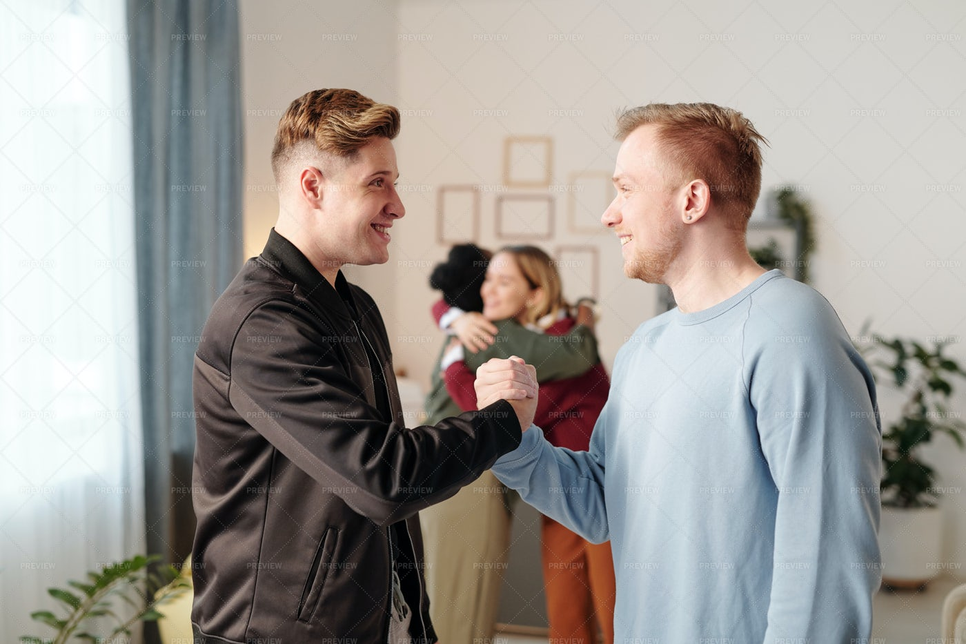Male Friends Greeting Each Other: Stock Photos